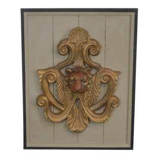 Carved Gilt Lion Crest Wall Plaque For Sale