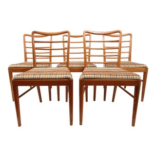 Vintage Mid Century Thomas Furniture Ladder Back Dining Chairs - Set of 5 Oak For Sale