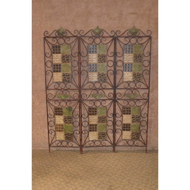 1980s Vintage 3-Panel Folding Screen For Sale - Image 11 of 13