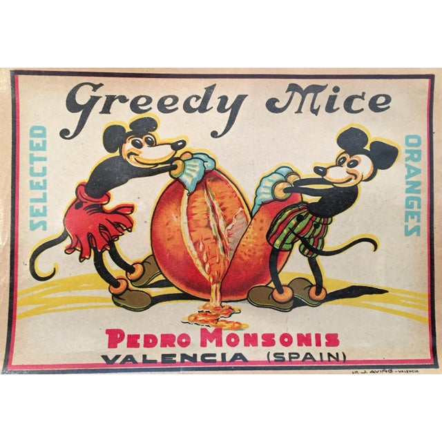 'Greedy Mice' Orange Crate Label - Image 1 of 2