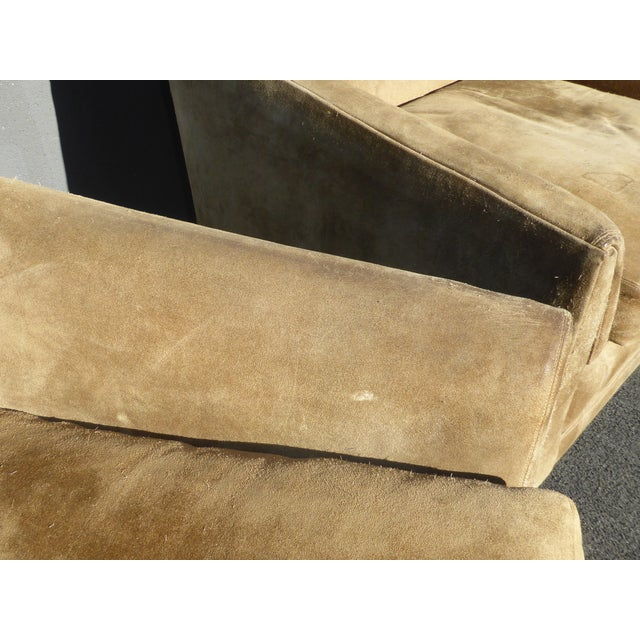 Brown Vintage Marge Carson Mid-Century Modern Tan Suede Accent Chairs - a Pair For Sale - Image 8 of 13
