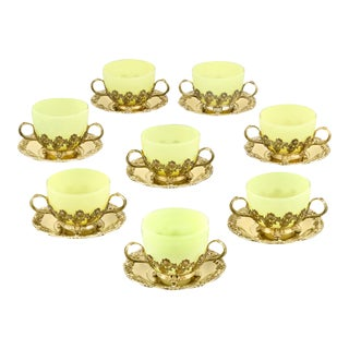 Royal Chrysanthemum Silver Gilt Teacups and Saucers by Tiffany & Co. - Set of 8 For Sale