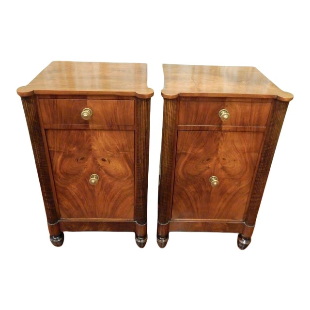 Pair of 19th C Charles X French Walnut Bedside Cabinets For Sale
