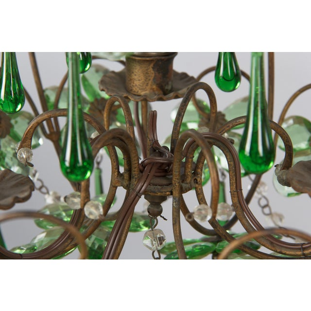 1920s French Green Glass and Crystal Chandelier For Sale - Image 9 of 13