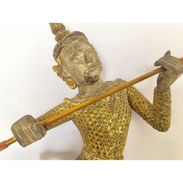 Thai Figures of Siamese Dancers Sculpture Wood With Gold - a Pair For Sale - Image 4 of 11