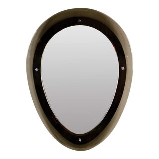 Modern Black Oval Shaped Wall Mirror For Sale
