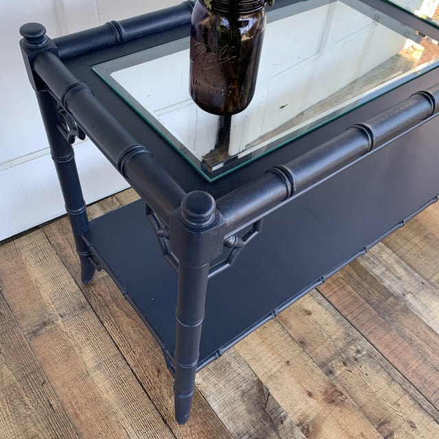 1960s Thomasville Allegro Console Sofa Table Painted Navy For Sale - Image 5 of 11