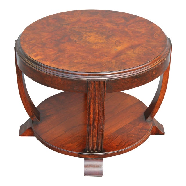 1930s Vintage French Art Deco 2 Tier Accent Table For