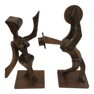 Modern Abstract Female Male Sculpture Dancers - A Pair For Sale