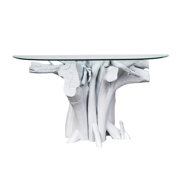 Vintage White Lacquered Driftwood Console Table - Image 1 of 4