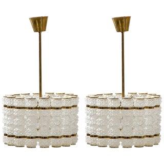Pair of Large, Midcentury Swedish Pendants For Sale