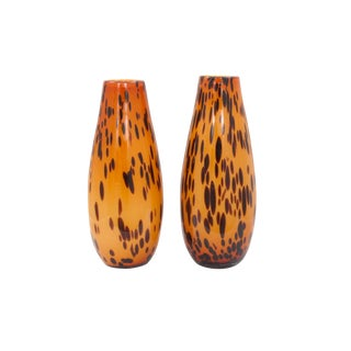 Italian Hand Blown Spotted Glass Vases - a Pair For Sale