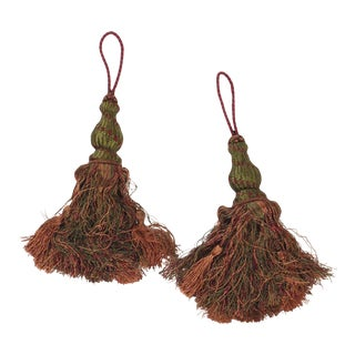 Pair of Tassels in Multi Color With Looped Ruche Trim For Sale
