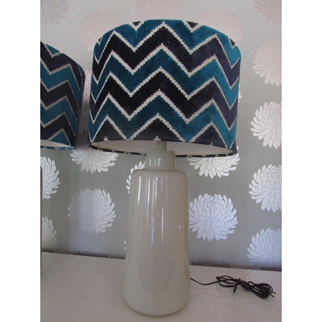 Arteriors White Porcelain Table Lamps with Chevron Shades- A Pair - Image 4 of 4