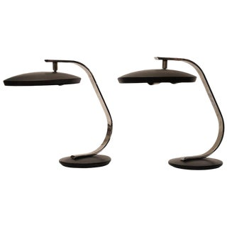 Nautical Deco Period Adjustable Chrome and Metal Desk Lamps - a Pair For Sale