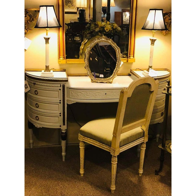 Louis XVI Style Ladies Vanity / Writing Desk in Dove Gray Lacquer For Sale - Image 11 of 13