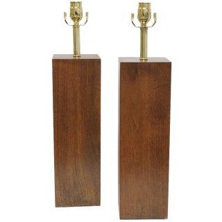 Pair of Wood Block Lamps For Sale