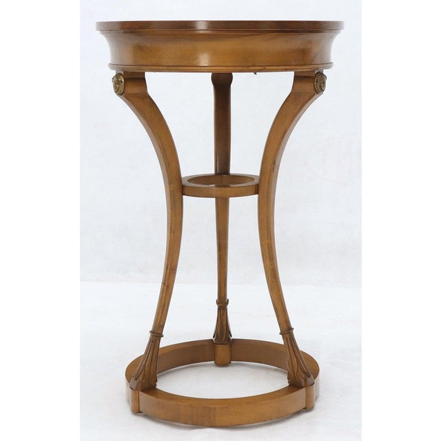 Pair of Tall Round Pedestal Shape Side End Tables on Tri Legged Bases Burl Wood For Sale - Image 10 of 13