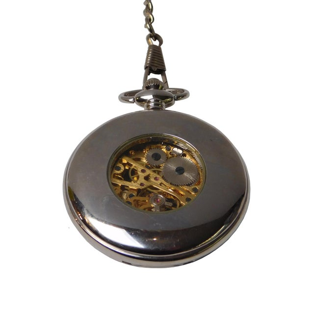 2010s Round Shape Lady & Baby Hugging Painting Chain Pocket Watch For Sale - Image 5 of 7