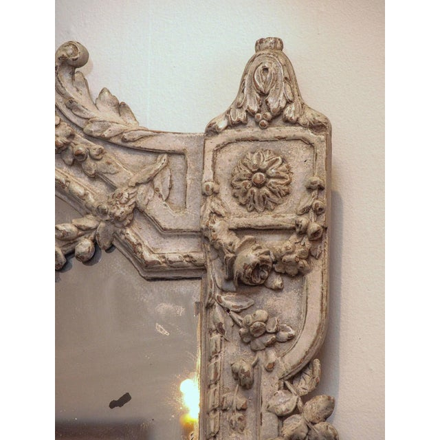 Gray Painted Louis XVI Style Mirror For Sale - Image 8 of 8