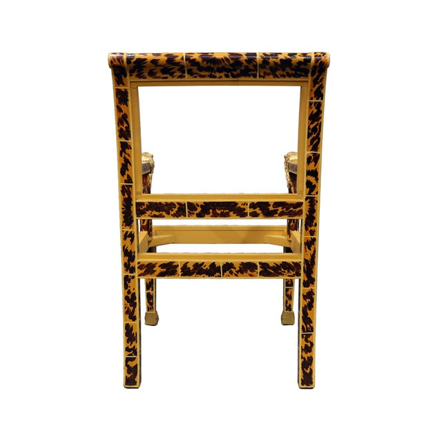 Vintage Mid Century Faux Tortoise Painted Arm Chair With Lion Head For Sale - Image 4 of 5