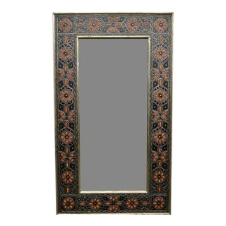 Moroccan Metal Bone Inlay Mirror - Henna For Sale