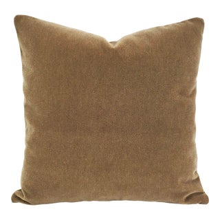 "Maharam Mohair Supreme in Stonehenge Pillow Cover - 20"" X 20"" Solid Brown Mohair Velvet Cushion Cover For Sale"
