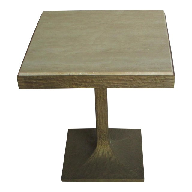 Travertine Bronze Base Side Table For Sale