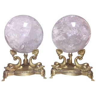 Pair of Neoclassical Rock Crystal Spheres on Bronze Bases For Sale