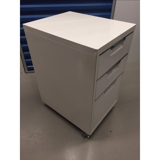 CB2 White Filing Cabinet - Image 3 of 4