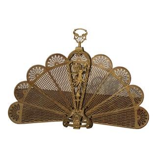 Vintage Brass Old Peacock Style Fan Fireplace Screen For Sale