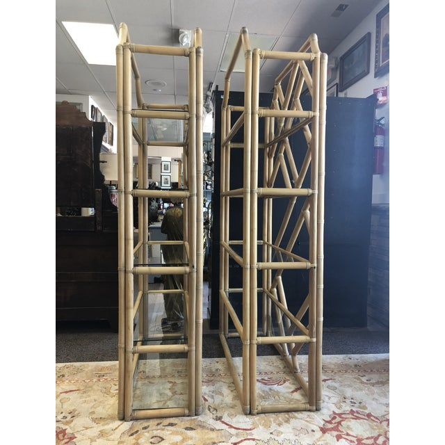 Absolutely massive pagoda shape bamboo bookshelves, glass panels inlays in pegs. Boho chic fabulous. Sturdy. Good condition.