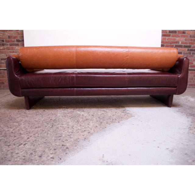 Wood Leather 'Matinee' Sofa / Daybed by Vladimir Kagan For Sale - Image 7 of 13