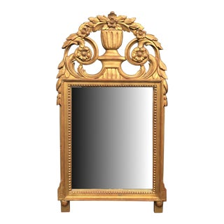 Early 20th Century French Hand Carved Louis XVI Style Giltwood Mirror For Sale