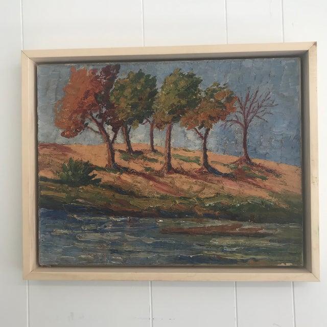 Blue Vintage Impasto Landscape Painting For Sale - Image 8 of 8