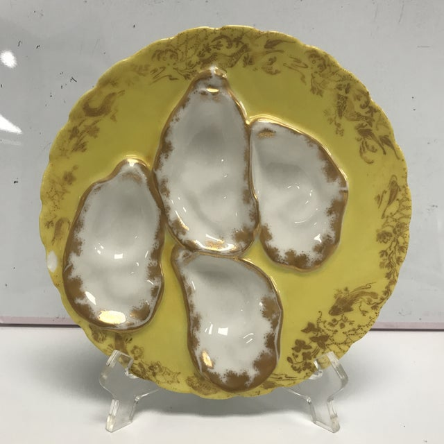 Metal 1920s Vintage Yellow Limoges Oyster Plate For Sale - Image 7 of 7