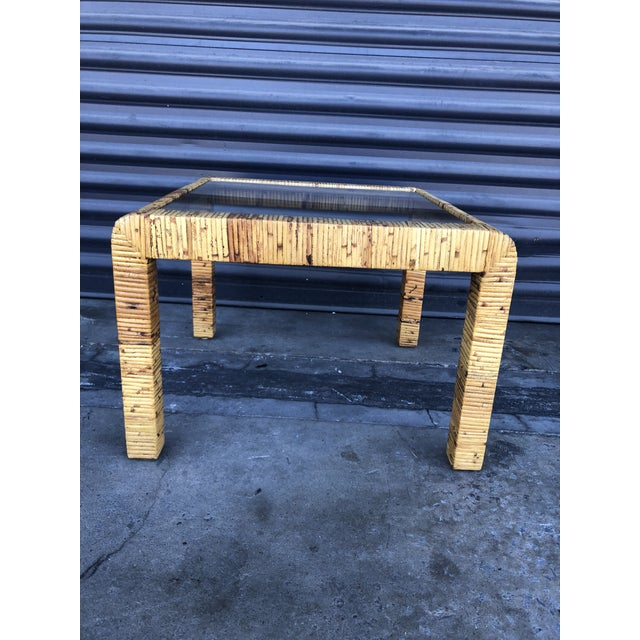 Vintage Wrapped Rattan Square Side Table For Sale - Image 9 of 11