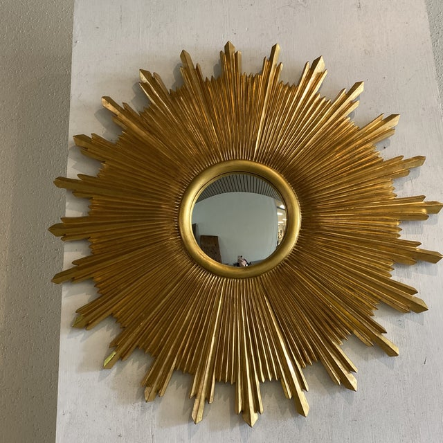 Gold Leaf Carvers Guild Starburst Wall Mirror For Sale - Image 7 of 9