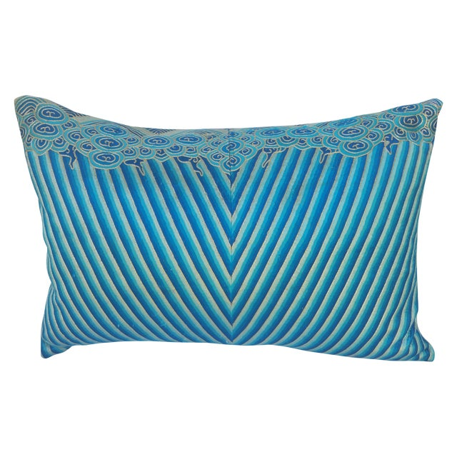 Chinese Turquoise Deco Embroidered Pillow For Sale