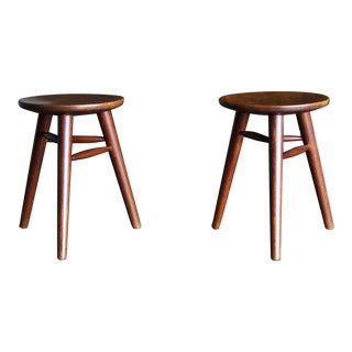 Handcrafted Tripod Stools Circa 1950 - a Pair For Sale