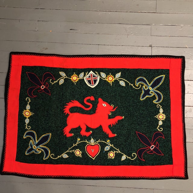 Blue Vintage Folk Art Wool Crewel Work Lion Motif Rug/Hanging For Sale - Image 8 of 8