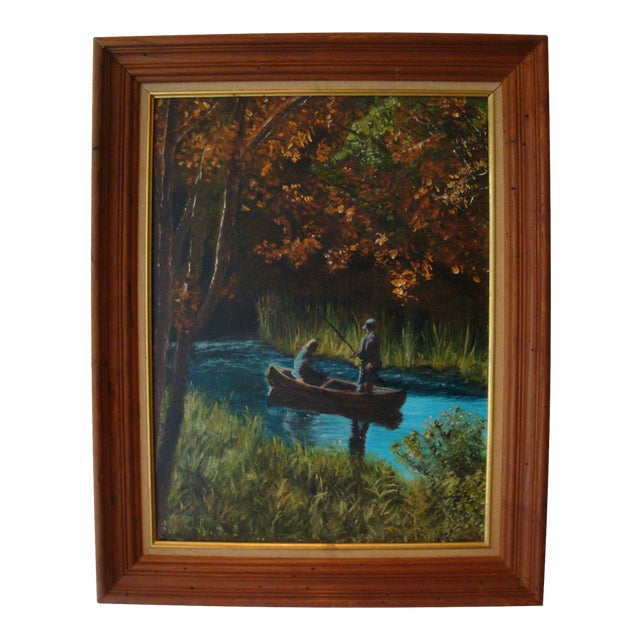 River Stream Fishing Expedition Oil Painting For Sale