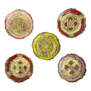 Italian Gold Gilt Florentine Coasters - Set of 5 For Sale