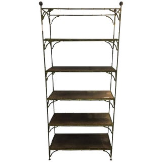 Maison Jansen Hollywood Regency Metal Bamboo Etagere For Sale