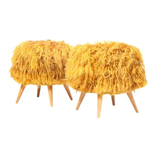 Pair of Mid-20th Century Stools Upholstered in Vintage Angora Tulu Rugs For Sale
