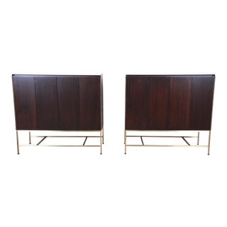 Paul McCobb Irwin Collection Mahogany and Brass Sideboard Cabinets (2 Available) For Sale