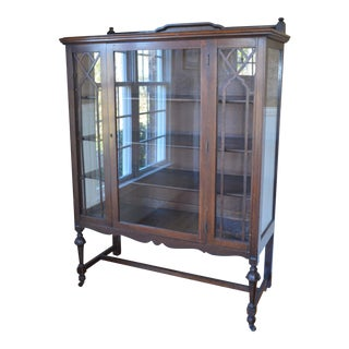 18th Century French Country Tiger Oak China Cabinet For Sale