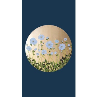 Tondi Fiori Collection Anemone Gold Circular Shaped Wallcovering on Evening Blue For Sale