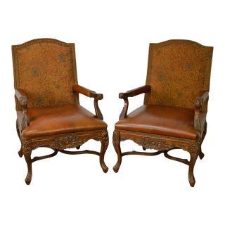 Quality French Louis XV Pair of Carved Frame Upholstered & Leather Bergere Arm Chairs