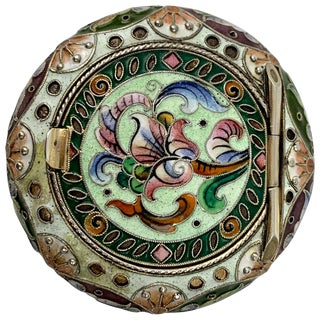 Imperial Russian Polychromed Enameled Solid Silver Pill Box For Sale